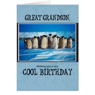 Grande - cumpleaños del nieto, pingüinos tarjeta de felicitación