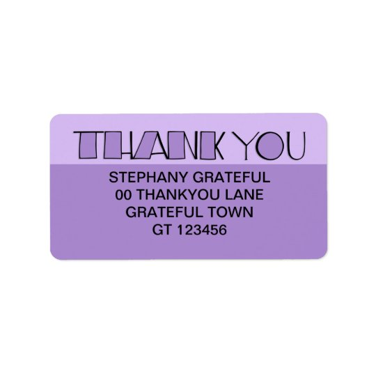 Grande gracias etiqueta de dirección púrpura