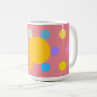 "Grande Mug modelo, rosado, ""Flor estilizada Pastel Taza De Café"