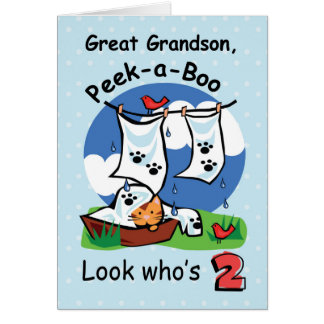 Grande - nieto, 2do cumpleaños, gatito del tarjeta de felicitación