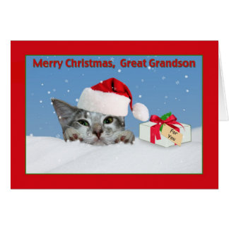 Grande - tarjeta de Navidad del gatito del nieto