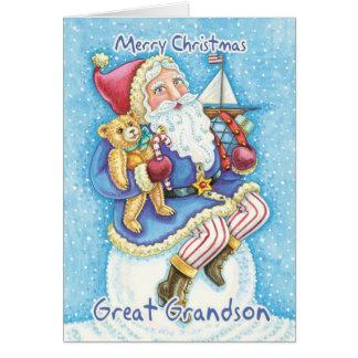 Grande - tarjeta de Navidad del nieto con Santa