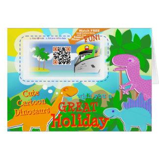 Grandes dinosaurios del día de fiesta y código de tarjeta de felicitación