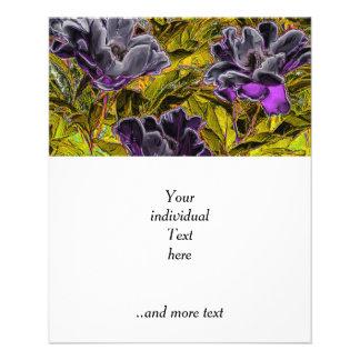 grandes flores en la púrpura (i) folleto 11,4 x 14,2 cm