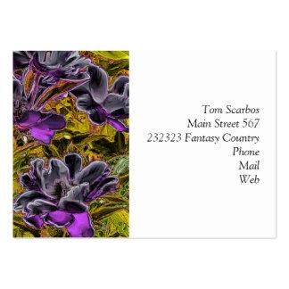 grandes flores en la púrpura (i) tarjetas de visita grandes