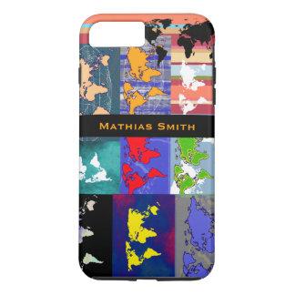 grandes mapas del mundo coloridos funda para iPhone 8 plus/7 plus