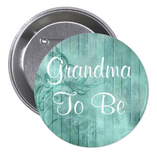 Grandm a ser botón de madera floral rústico de la