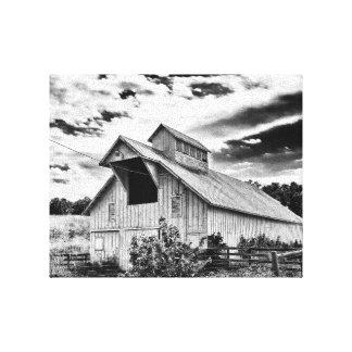 Granero blanco y negro impresión en lienzo
