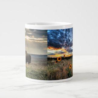 Granero de Oklahoma con los girasoles y la taza