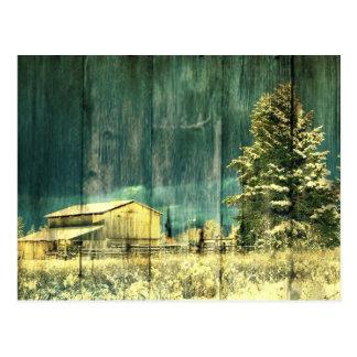 Granero del país del invierno del vintage postal