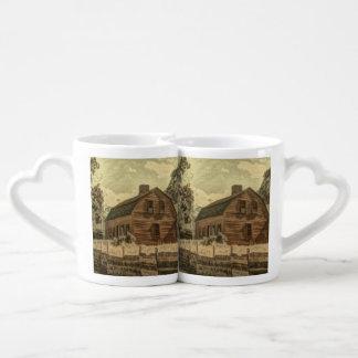 Granero rojo elegante del cortijo rústico del país set de tazas de café