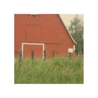 Granero rojo grande impresión en madera