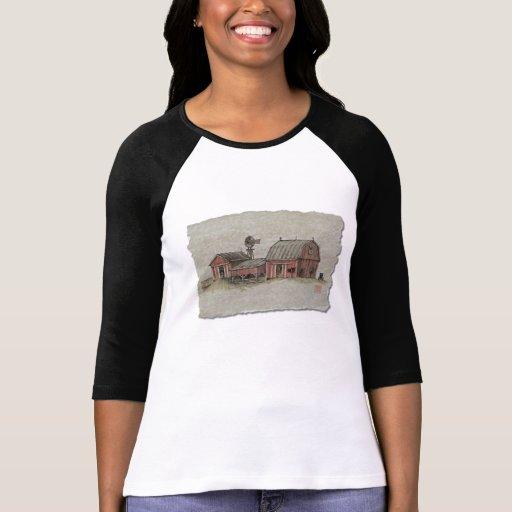 Granero y molino de viento rojos de Amish Camisetas