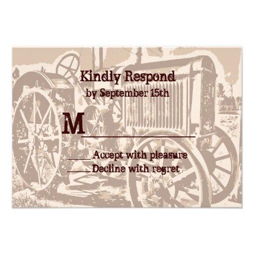 Granja antigua del tractor que casa las tarjetas d comunicado personalizado