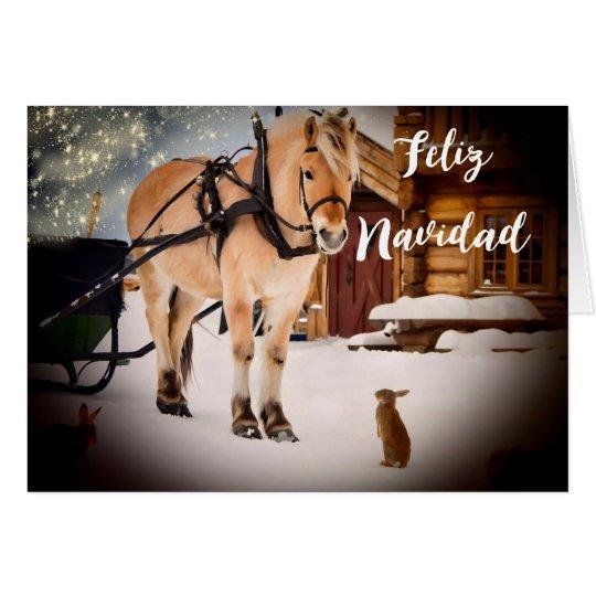 Granja de la noche de navidad de Feliz Navidad con Tarjeta Pequeña