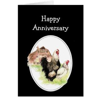 Granja feliz del aniversario de boda, pollo del pa tarjeta de felicitación