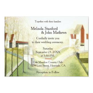 Granja y prado de la invitación del boda