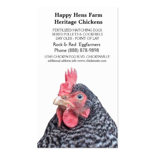 Granjero barrado del huevo del pollo de la roca plantilla de tarjeta de negocio