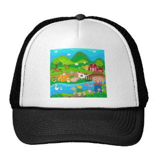 Granjero y animales del campo en la granja gorra