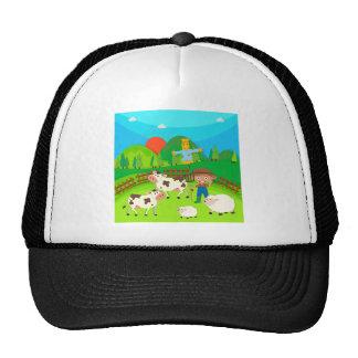 Granjero y animales del campo en la granja gorros