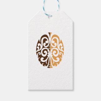 Grano de café con adorno maorí etiquetas para regalos