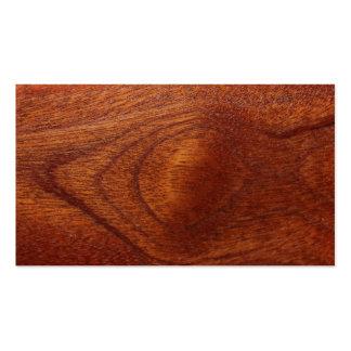 Grano de madera de caoba tarjetas de visita