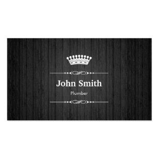 Grano de madera negro real del fontanero plantilla de tarjeta personal