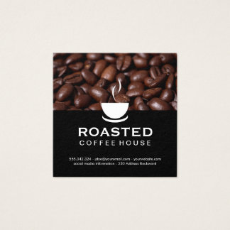 Granos de café tarjeta de visita cuadrada