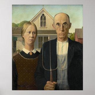 GRANT WOOD - 1930 gótico americano Póster