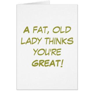 Grasa, señora mayor tarjeta pequeña