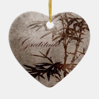 Gratitud del bambú del zen adorno de cerámica en forma de corazón