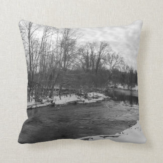 Grayscale de James River de la belleza de la nieve Cojín Decorativo