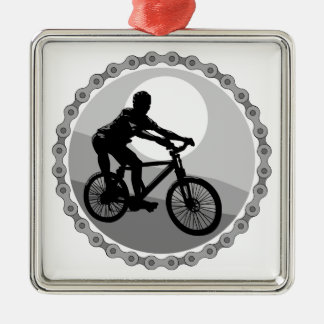 grayscale del piñón de cadena de la bici de adorno navideño cuadrado de metal