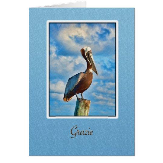Grazie, gracias, italiano, pelícano tarjeta de felicitación