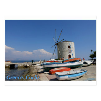 Grecia, Corfú, molino de viento viejo, postal
