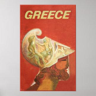 Grecia, poster del viaje del estilo del vintage póster