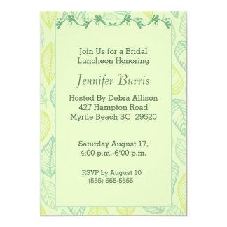 """Green Leaf Bridal Luncheon Invitation 5"""" X 7"""" Invitation Card"""