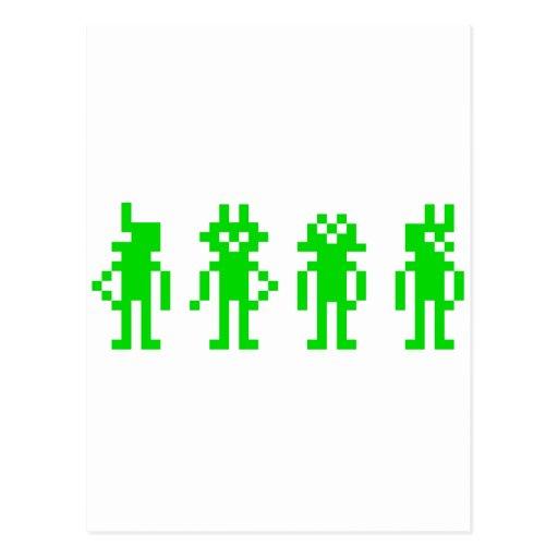 green pixel robots tarjetas postales