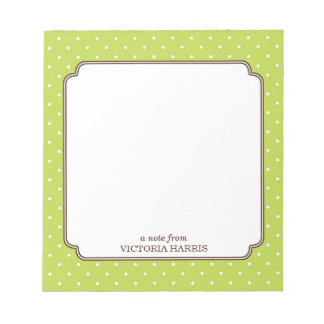 Green polka dot personalized girly cute notepad