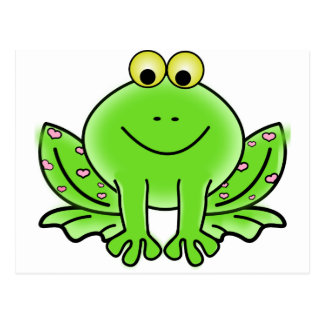 Green_Valentine_Frog_with_pink_hearts.png Tarjeta Postal