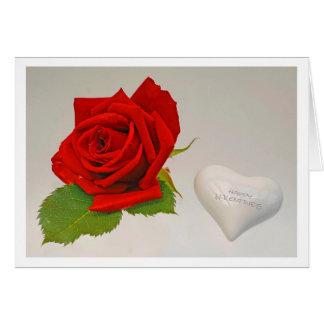 Greeting card happy valentines hablas rose; tarjeta de felicitación