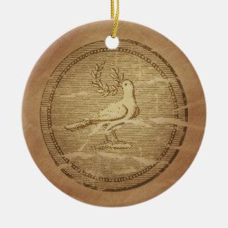 Griego de la paz de la rama de la paloma y del adorno navideño redondo de cerámica