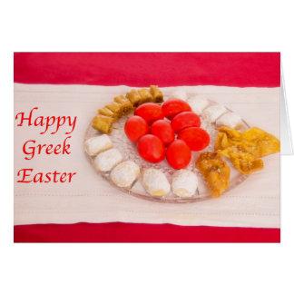 Griego feliz Pascua con la tarjeta griega de las