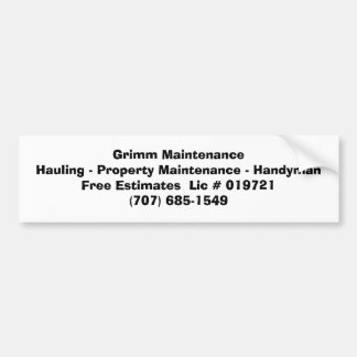 Grimm MaintenanceHauling - mantenimiento de la pro Pegatina Para Coche