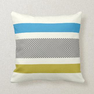 Gris amarillo azul de la raspa de arenque blanca cojín decorativo