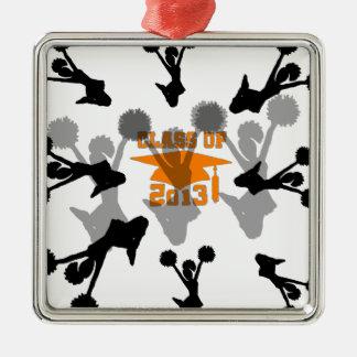 Gris anaranjado 2013 de la animadora adorno navideño cuadrado de metal