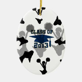 gris azul 2013 de la animadora adorno navideño ovalado de cerámica