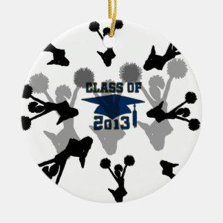 gris azul 2013 de la animadora adorno navideño redondo de cerámica