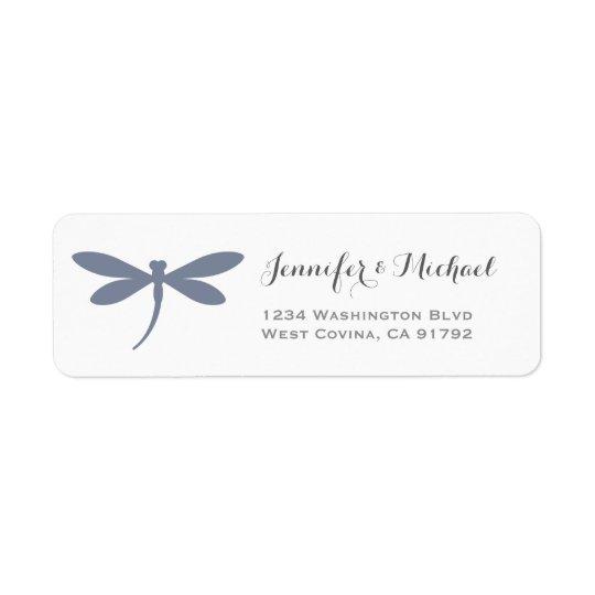 Gris azul de acero elegante de la plantilla el   etiqueta de remite