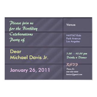 Gris azul de lujo del satén con el texto de la invitación 12,7 x 17,8 cm